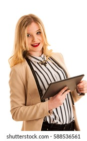 Beautiful business woman browsing web on her tablet isolated over white background