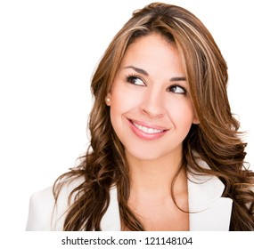 Beautiful business woman daydreaming - isolated over a white background