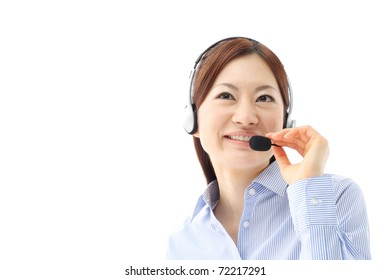Beautiful business woman with headset. Call center. Customer support. Helpdesk.