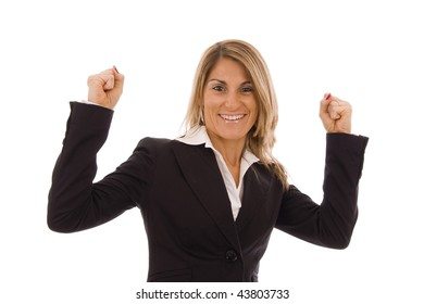 Beautiful business woman  with her arms in the air isolated on white