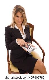 Beautiful business woman holding a calculator