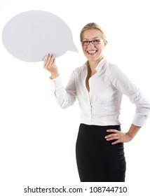 Beautiful business woman holding a paper speech bubble