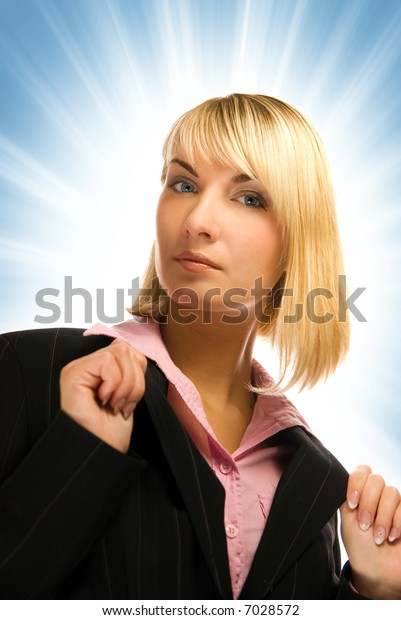 Beautiful business woman isolated on abstract blue background