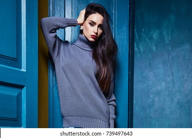 Beautiful Business Woman Lady Style Perfect Body Shape Brunette Hair Wear Winter Autumn Collection Elegance Casual