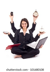 Beautiful business woman looking confident with six arms
