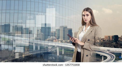 Beautiful business woman and modern business concept