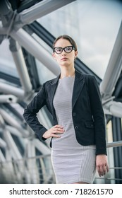 beautiful business woman in office building