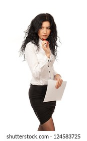 Beautiful business woman on a white background.