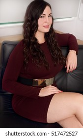 Beautiful business woman plus size model confident and positive