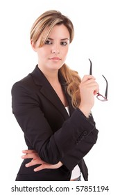 Beautiful business woman posing isolated