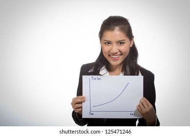 Beautiful business woman smiling happily Success.
