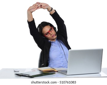 Beautiful business woman stressed working on her laptop in the office, isolated on a white background