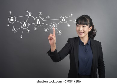 Beautiful Business Woman touching human connect  sign on virtual screen