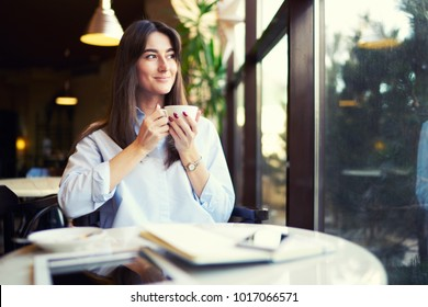 Beautiful business woman uses a phone and drinks coffee sitting in a cozy cafe. Young lady drinking coffe and looking through a window.  Copy space area for text.