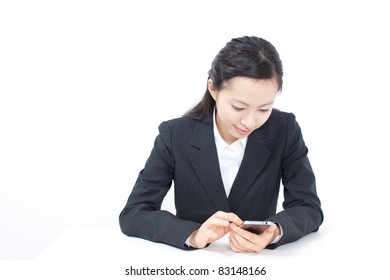 beautiful business woman using smart phone, isolated on white background