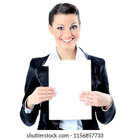 Beautiful business woman with a white banner. Isolated on a white background.