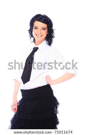 Beautiful Business Woman White Blouse Skirt Stock Photo Edit Now