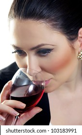 beautiful business woman with wine