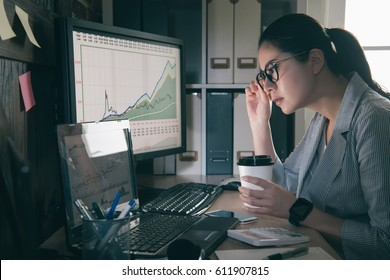beautiful business woman working at the retro office with laptop have financial issues. girl grip glasses and pick up coffee cup focus on graph.