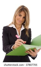 Beautiful business women high-lighting a document