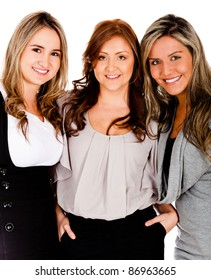Beautiful business women - isolated over a white background