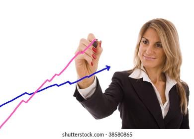 Beautiful business women showing the women success (pink) vs men (blue).