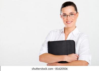 beautiful businesswoman with briefcase studio portrait