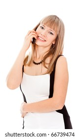Beautiful businesswoman calling by phone and smiling standing on white