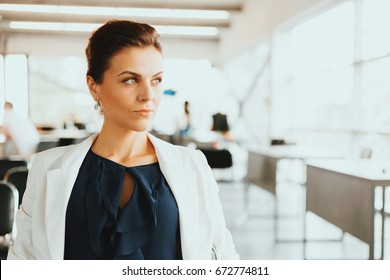 Beautiful businesswoman at the co-working. Blurred background. Film effect. Open space
