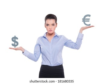 Beautiful businesswoman with currency symbols