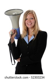 Beautiful businesswoman holding megaphone isolated over white background