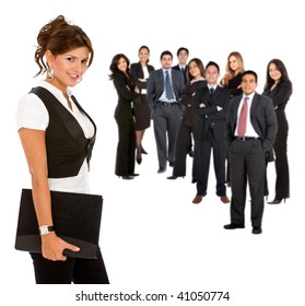Beautiful businesswoman leading her team isolated on white