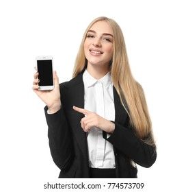 Beautiful businesswoman with mobile phone on white background