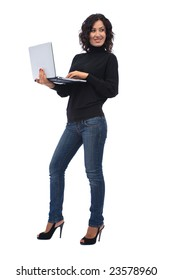 Beautiful businesswoman with modern laptop