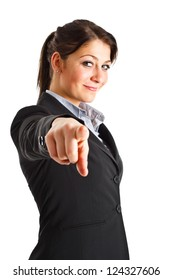 Beautiful businesswoman pointing her finger at you