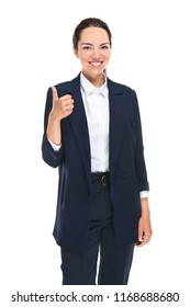 Beautiful businesswoman showing thumb-up gesture on white background