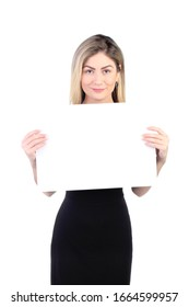 Beautiful businesswoman showing white empty paper. Template mock up for advertisement, business and companies. Isolated on white background.