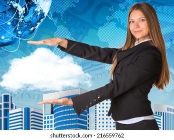 Beautiful businesswoman in suit holding cloud
