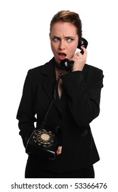 Beautiful businesswoman using vintage telephone isolated over white background