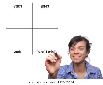 Beautiful businesswoman writing a diagram