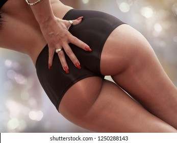 Beautiful buttocks of a woman with very slim waist healthy body wearing black lingerie