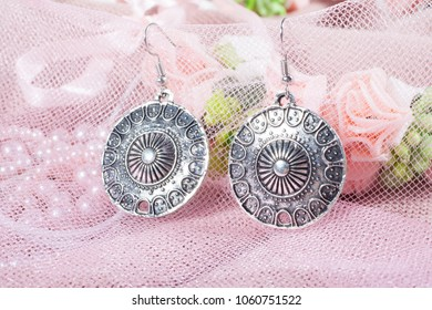 Beautiful Byzantine Earrings on a Pink Background