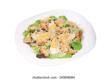 Beautiful caesar salad. Isolated on a white background.