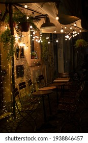 Beautiful cafe and night lights in Trastevere, Rome Italy