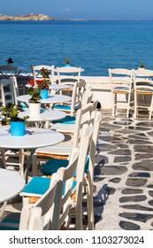 Beautiful cafeteria at the beach, on Mykonos island, Greece