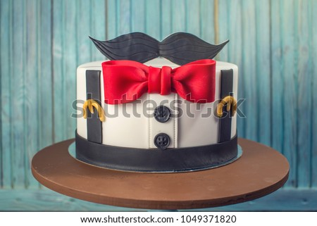 Beautiful Cake For Men Decorated In The Form Of A Suit With Bow Tie