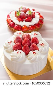 beautiful cake with strawberries and cream