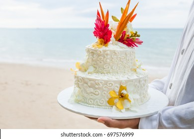 Beautiful cake  for wedding ceremony on beach.