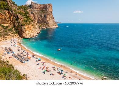 Beautiful Cala del Moraig beach with pristine turqouise water in Benitachell, Costa Blanca, Spain