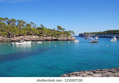 The beautiful Cala Mondrago on a sunny day is a small beach situated within Mondrago National Park in the south east corner of Mallorca